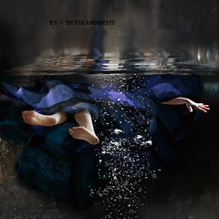 Diving into the New Year (Silvia Andreasi (Images Beyond Mirror)) Tags: blue light shadow woman selfportrait texture hope underwater bright surrealism faith digitalart dive surreal floating bubbles fabric consciousness confidence fineartphotography bestwishes conceptualphotography newyear2016 happy2016