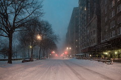 Lonely Snow Plow (Strykapose) Tags: street newyorkcity snow storm night perspective windy avenue jonas blizzard desolate snowplow snowdrifts plowed shovelling centralparkwest travelban canon5d3 strykapose 1232016 winterstormjonas lonelysnowplow