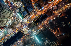 Intersection | NYC (navid j) Tags: street city nyc newyorkcity rooftop night cityscape traffic manhattan cab taxi vertigo aerial intersection heraldsquare