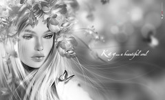 KY | A beautiful soul (Hppy S Vlee' Dy! ) Tags: flowers bw monochrome beauty portraits painting blackwhite retrato digitalart illustrations digitalpainting dreamy magical ritratto biancoenero artworks portrature artportrait digitalfantasy emotionalart
