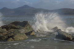 Waves at Morfa Nefyn (RHughes5) Tags: blue shadow sky white mountains water wales landscape nikon scenery rocks long exposure crash wave sunny d3200