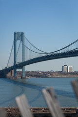 Verrazano-Narrows Bridge (Erin Cadigan Photography) Tags: auto road city nyc newyorkcity bridge newyork tower vertical architecture brooklyn fence river outdoors bay harbor daylight traffic suspension steel bluesky cable double structure deck transportation transit toll vehicle mta borough daytime hudson statenisland span narrows roadway verrazano verrazanonarrows fortwadsworth