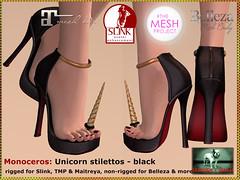 Bliensen - Monoceros - Unicorn stilettos - black (Plurabelle Laszlo) Tags: shoes pumps highheels secondlife horn unicorn enchantment belleza stilettos tmp maitreya slink bliensen themeshproject