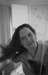 Soligor Wide-Auto F2.8 35mm - B&W - Lovely Wife - Lisa in the mirror (TempusVolat) Tags: portrait blackandwhite bw woman white black cute sexy slr love girl monochrome beautiful beauty face loving digital canon hair eos mono eyes pretty mr profile lisa spouse brushing attractive beautifulwoman wife wristwatch brunette lover lovely dslr mole loved canoneos gareth mygirl mywife tempus demure prettyface farge verypretty morodo beautifulface beautifulwife verybeautiful cutewife 60d prettywife beautifulbrunette attractivewife volat canoneos60d garethw eos60d wonfor mrmorodo garethwonfor lisafarge tempusvolat lisawonfor