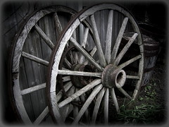 weary -  redux (milomingo) Tags: wood texture grass wheel metal hub vintage circle grey wooden outdoor geometry border spoke gray barrel monochromatic symmetry round weathered rim vignette wagonwheel yesteryear daysgoneby