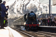 "LNER Recently restored Class A3 60103 (4472) The ""Flying Scotsman"" At Newark Station on 25-02-2016 with it's inaugural run from Kings Cross to York (kevaruka) Tags: uk greatbritain winter england sun color colour history public colors sunshine station train canon outdoors eos flickr colours pacific unitedkingdom transport engineering rail railway sunny trains ne historic telephoto trainstation 5d a3 backlit newark railtour february crowds nottinghamshire sunnyday steamtrain flyingscotsman eosdigital lner 4472 ecml theflyingscotsman 60103 newarknorthgate railnetwork canon5dmk3 5dmk3 5d3 canonef1004004556l eos5dmk3 5diii canoneos5dmk3 25022016 telephototrains"