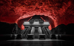 Raising Hell (TS446Photo) Tags: camera city red urban station rock architecture stairs train underground photography nikon europe cityscape metro sweden stockholm fineart escalator explore 20mm dslr d600 explored nikoneurope ts446