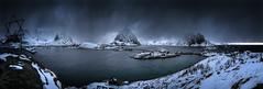 Hamnoy Panno 01 w (nigel_gnp) Tags: sea panorama cloud snow seascape norway landscape islands fujifilm lofoten reine 18mm hamnoy olstinden xe2