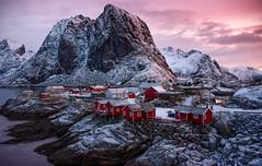 Hamnoy - Lofoten, Norway (The Voyageur) Tags: travel winter sunset snow mountains colors norway montagne sunrise norge nikon north neige lofoten artic nord norvge hamnoy rorbu nikonpassion nikond750