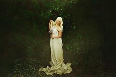 Penumbral Lunar Eclipse (Claudia Paridae Images) Tags: portrait woman white green art nature girl beauty leaves fog lady fairytale hair gold solar eclipse flora dress fine tan australia foliage galaxy concept flour nymph lunar