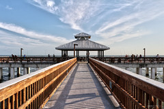 Fort Myers Beach Fishing Pier - Florida (Andrea Moscato) Tags: wood blue light shadow sea sky people usa white beach clouds america pier us nuvole mare view unitedstates walk perspective vivid shore cielo vista caribbean statiuniti andreamoscato