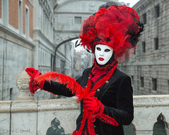 Venice Carnival - Bridge of Sighs  (Explored) (cheryl strahl) Tags: bridge carnival venice costumes red italy beauty europe mask models feathers posing prison bridgeofsighs criminals stmarcossquare