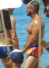 IMG_0745 (danimaniacs) Tags: shirtless man hot guy beach pecs beard hunk trunks swimsuit stud scruff bulge sext