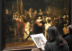 The Night Watch - Rijkmuseum Amsterdam. (Flyingpast) Tags: vacation people woman holiday holland art public netherlands dutch amsterdam painting europe artist framed candid famous culture militia rembrandt masterpiece oiloncanvas capitalcity rijkmuseum citybreak thenightwatch wb2000 tl350