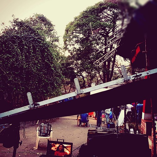 Spot the monkey. #shooting, #televisionproduction, #monkey, #visitor, #obliviousactor, #monitor, #Mumbai