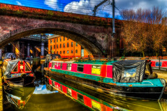 Barge Reflections (Kevin From Manchester) Tags: bridge england sky reflection beautiful architecture manchester canal colours waterfront northwest colorfull lancashire serene 1855mm archways barge hdr scenics waterways rochdalecanal canon1855mm castlefileds kevinwalker canon1100d