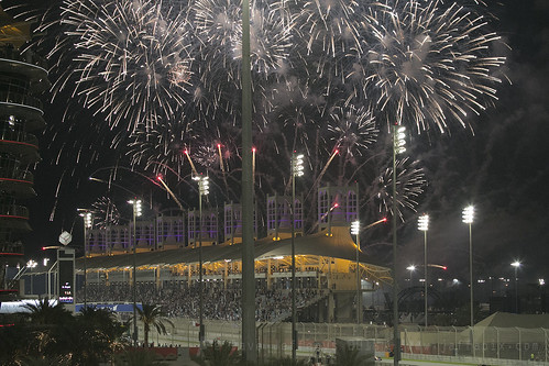 F1 race - fireworks as they coss the finish line