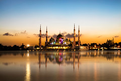Crystal mosque (Patrick Foto ;)) Tags: city morning sky building tourism monument architecture river landscape asian religious temple gold dawn evening twilight scenery worship shrine day symbol god crystal dusk minaret muslim islam faith prayer religion pray eid culture peaceful places landmark palace mosque arabic architect malaysia dome saudi arabia oriental spiritual ramadhan malay attraction terengganu islamic kualaterengganu my