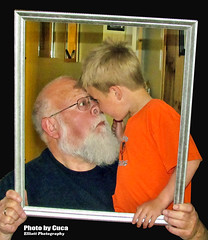 April 5 2016 - Grandpa and Titus nose-to-nose (lazy_photog) Tags: fun photography funny faces framed grandpa grandson lazy wyoming elliott photog worland 040516titusandgrandpaframed