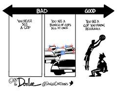 0416 bad cop no cop cartoon (DSL art and photos) Tags: police editorialcartoon sandusky communitypolicing donlee walkingthebeat