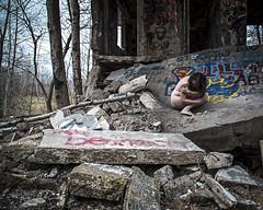 Until all that Swaying Starts to Make you Sick (sadandbeautiful (Sarah)) Tags: woman selfportrait abandoned me female self graffiti pa urbex concretecity