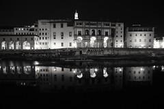 A night in Florence.... (Henryark) Tags: reflection water night river lights florence blackwhite mr tuscany uffizi arno mirroring lungarno