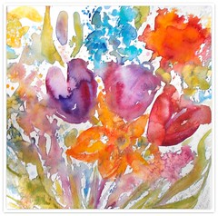 Watercolour:..Colourful and Joyful ! (Nadia Minic) Tags: flowers art garden spring tulips explore bunch watercolour colourful luxembourg joyful flowerbunch nadiaminic