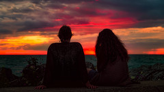 private whispers (JimfromCanada) Tags: girls friends sunset lake ontario comfortable night wow evening women chat whisper quiet talk peaceful calm sit serene conversation portelgin