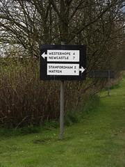 Darras Hall, Ponteland, Northumberland (aj.gardner) Tags: signs sign text direction northumberland signage directions roadsign roadsigns signpost roadside bikeride distance information distances verge roadjunction ponteland darrashall