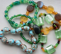 Bracelets (Molly Moult) Tags: blue brown color colour green glass rose stone beads crystal handmade crafts stretch jewellery bracelet