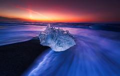 nature diamond (ALFONSO1979 ) Tags: longexposure sunset paisajes ice water colors sunrise landscape island photography iceland travela largaespocicion