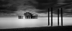 Timeless (Clea Romeo) Tags: uk england white black beach pier brighton long exposure bnw