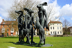 A group of friends with their dogs (SteveJM2009) Tags: uk sculpture woman art dogs wire hare close group april salisbury wiltshire salisburycathedral stevemaskell hares 2016 sophieryder wilts ladyhare