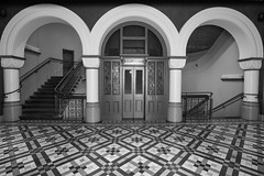 QVB lift lobby (Janet Marshall LRPS) Tags: blackandwhite bw monochrome mono sydney cbd qvb romanesquerevival queenvictoriabuilding qvbsydney
