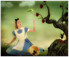 Alice in Strawberry Land (Swissrock) Tags: tree texture clouds photoshop strawberry alice fantasy frame april deviantart photoart lightroom digitalpaint 2016 photomatix textureart