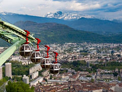 Grenoble Tlphrique (DFiveRed) Tags: city panorama mountain snow storm ski france mountains alps grenoble canon french switzerland pod lift view swiss hill tram peak panoramic skilift cablecar gondola tlphrique