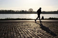 (bort.i) Tags: street city shadow sun silhouette backlight canon river person riverside candid streetphotography cologne running kln stranger human dslr jogging cobbles rhein 100d