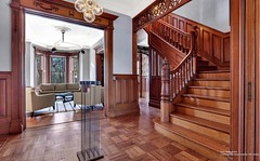 Brooklyn brownstone built 1899 $11 mil Prospect Park West (techpro12) Tags: newyork window brooklyn stairs mirror woodwork fireplace interior room parkslope stairwell historic stairway banister partition pediment brownstone mantel baywindows victoiran foyerornate