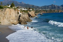 Beach fun (2/3) (Kym.) Tags: sea people beach walking fun spain walk andalusia nerja andalucia