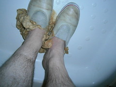 Mushy Biscuits / cookies and white slip-on plimsolls (eurimcoplimsoll) Tags: white trash shoes pumps sneakers canvas messy gusset trashed elastic gunge slipon plimsolls gunged plimsoles