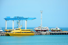 Russia. Anapa. Ships on the berth (Kira Pichano) Tags: travel blue tourism water yellow port spring dock wind russia ships calm resort blacksea kuban anapa withoutpeople