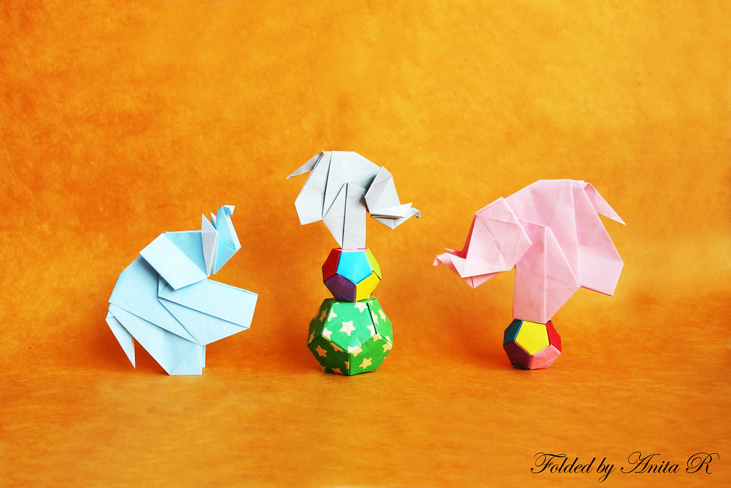 Acrobatic Elephants Roman Diaz OrigamiSunshine Tags Family Baby Elephant Ball Paper