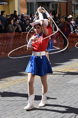 Lasso drill girl (Ashley3D) Tags: 6 hat female scarf boot drive san downtown day texas cattle boots young sunny skirt parade short hispanic february antonio drill lasso 2016 sanantoniorodeo