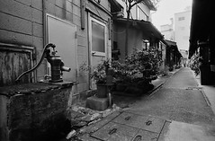 Active Well in the Alley (2) (Purple Field) Tags: street bw film monochrome japan analog zeiss 35mm walking alley kyoto fuji iso400 g rangefinder well contax carl g2 neopan  f28 21mm presto  biogon             stphotographia