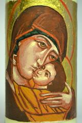 DSC_0846 (Mike Quirke Icon Art) Tags: candle icon virginmary motherandchild goldleaf eggtempera baptismalcandle motherofmercy virginoftenderness eleusaicon