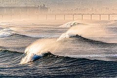 Gritty morning (bodro) Tags: ocean fog pier waves foggy manhattanbeach wavy