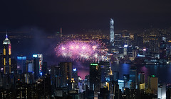 Firework in the year of monkey~ (edward.cheung) Tags: city blue red sky hk flower happy hongkong purple joy firework nightview icc happynewyear sogo victoriaharbor  2016   a6000