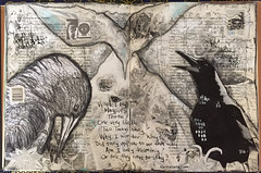 Art Journal J94 Visted By Magpies Three (karinaltarts) Tags: bird art poetry poem mixedmedia journal magpie artjournal journal52 cmp2016