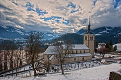 """Eglise St-Thodule at winter time , Chteau de Gruyres .""""Gruyres sous son manteau de neige."""" No. 3637. (Izakigur) Tags: winter snow alps topf25 alpes liberty switzerland neige alpi eglise topf250 lepetitprince dieschweiz gruyres romandie chteaudegruyres lasuisse 100faves 200faves d700 250faves nikond700 nikkor2470f28 laventuresuisse eglisestthodule gruyressoussonmanteaudeneige"""
