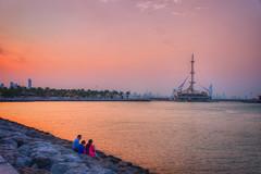 Watching the sunset, Salmiya, Kuwait (CamelKW) Tags: sunset kuwait salmiya marinawaves